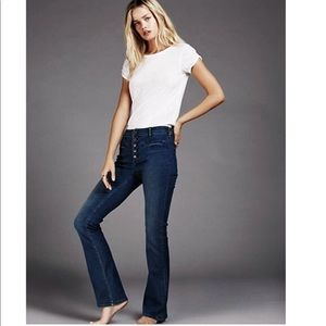 Free People high waisted button fly flare jeans